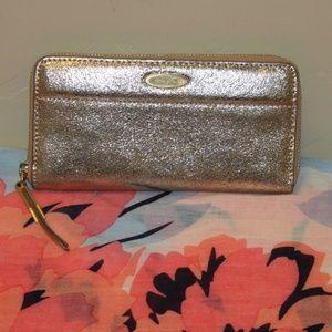 Tahari wallet shimmer light gold Zipper